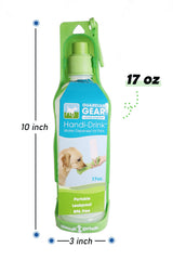 Guardian Gear Handi-drink portable water bottle, Portable water bottle for pets 17 oz, size measurements 10 W x 3 L