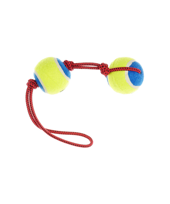 knot rope toy with two tennis balls for dogs