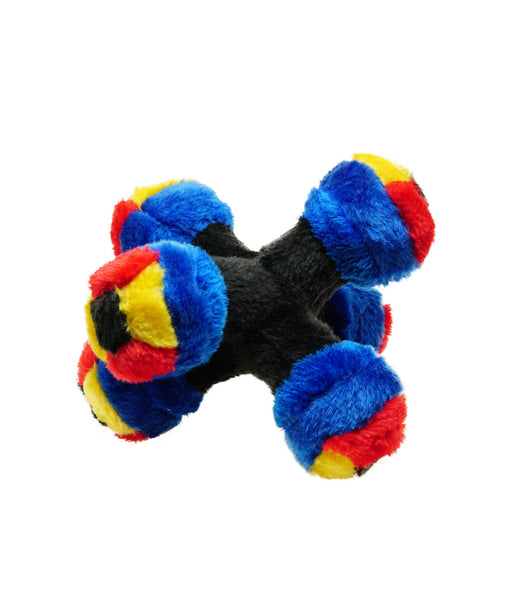 blue plush jack toy with squeaking balls for dogs