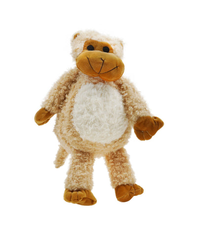 Plush Faux Fur Creme Grunting Monkey Dog Toy 15""