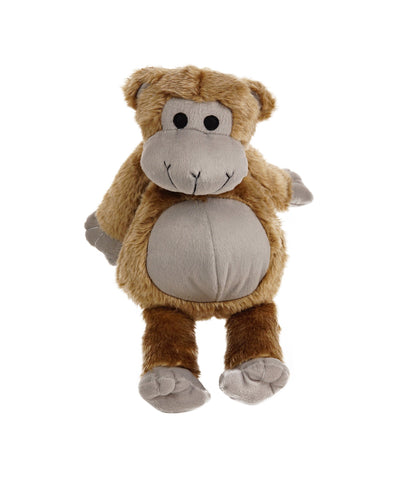 Plush Faux Fur Dark Brown Grunting Monkey Dog Toy 15""