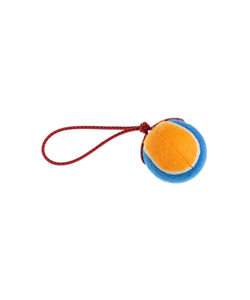 "knotted rope dog toy with large tennis ball 4"" diameter"