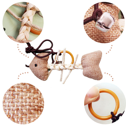 Burlap Woven Fish Skeleton Brown String With Ring Toy for Interactive play with Cats and Kittens Detailed Photo of Features Includes Bell Ringer