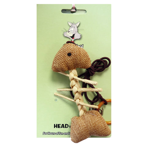 Burlap Woven Fish Skeleton Brown String With Ring Toy for Interactive play with Cats and Kittens