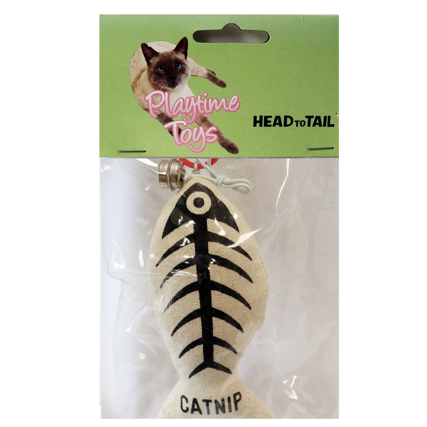 Canvas Fish skeleton Print Cat toy Stuffed with catnip attached to string with ring and bell ringer for interactive exciting play cat toy for cats and kittens