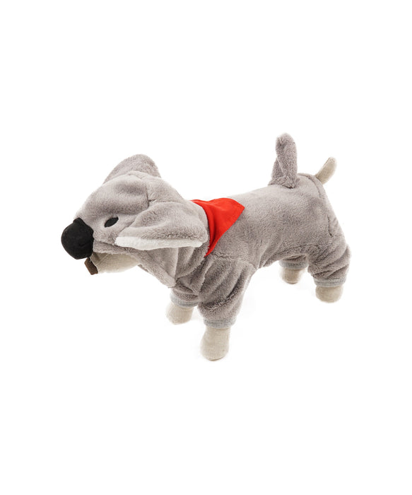 Hooded Koala Jammies For Dogs in Grey 4 Cuffs XS
