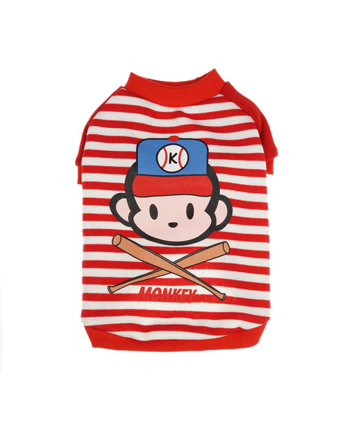 Striped Monkey Shirt For Dogs in Red L