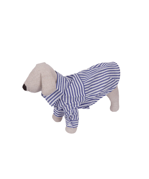 Striped Collar Shirt For Dogs in Blue S