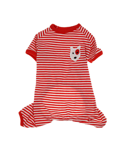 Soft Tee Jammies For Dogs in Red and White 4 Cuffs S