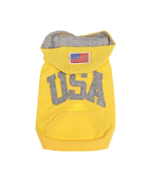 USA Hooded Tee For Dogs in Yellow and Grey S