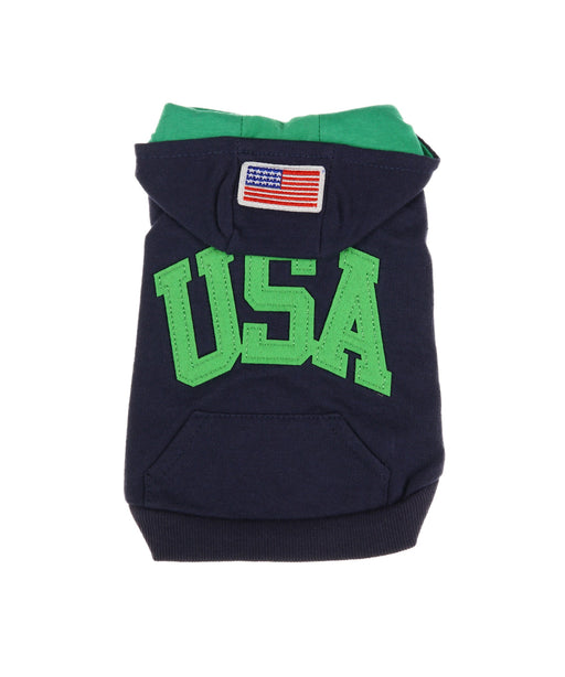 USA Hooded Tee For Dogs in Navy and Green S