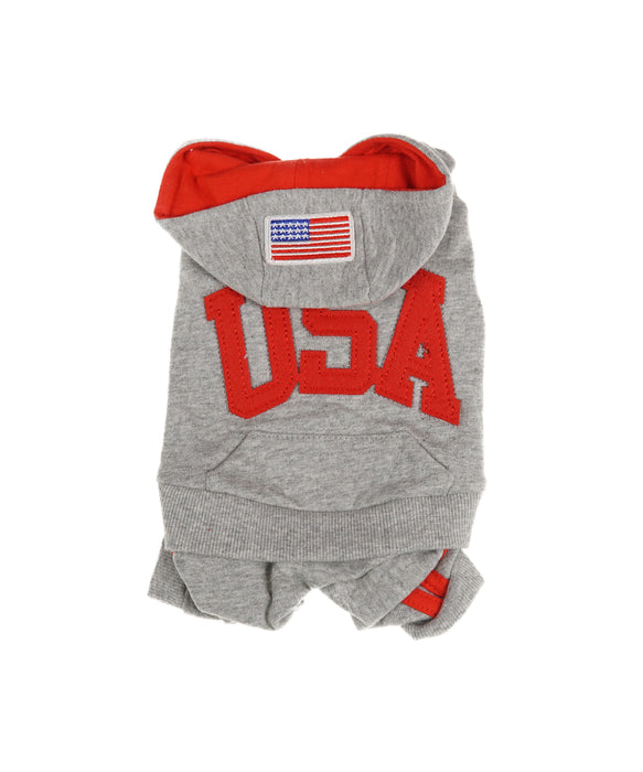 USA Hooded Tee For Dogs in Grey and Red 4 Cuffs S