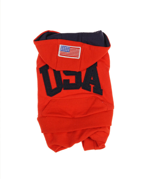 USA Hooded Tee For Dogs in Red and Navy 4 Cuffs S