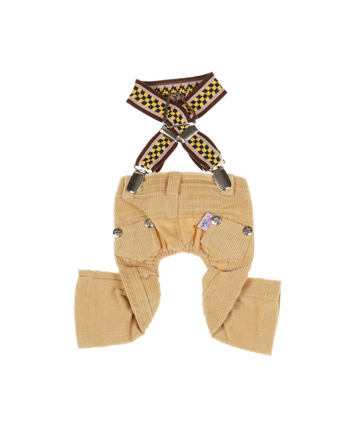 Suspenders With Pants Set For Dogs in Light Brown S