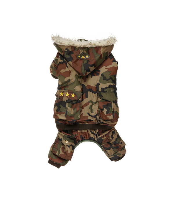 Hooded Cameo Army Jacket With Faux Fur Trim For Dogs 4 Cuffs L