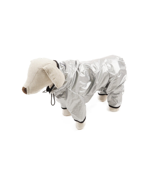 Raincoat With Hood For Dogs in Silver with Black Trim 4 Cuffs M