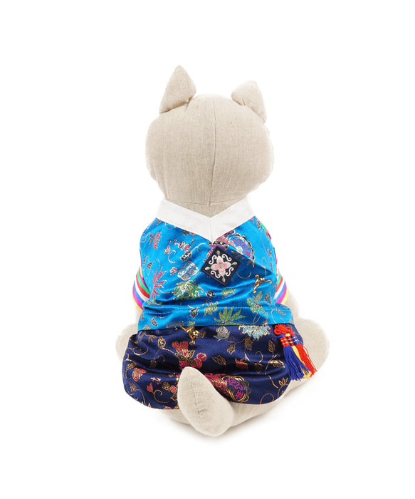 Colorful Korean Traditional Clothing For Dogs 4 Cuffs Blue Tones M