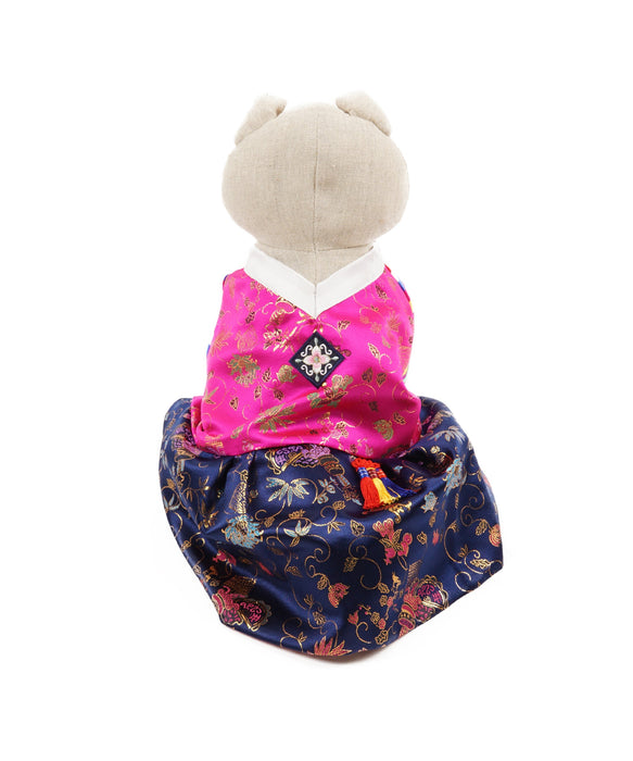 Colorful Korean Traditional Dress For Dogs in Purple Tones L