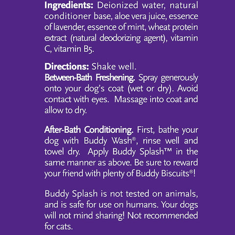 Buddy Splash Lavender and Mint Deliciously Scented Relaxing Spritzer and Conditioner 4 Fl oz Details Ingredients and Directions extra