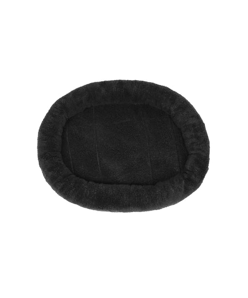 Round stuffed cat bed, layered with cotton fabric 24x19 BLACK