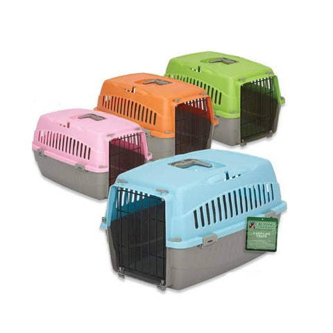 Cruising Companion Carry Me Pet Crate variety Of colors Pink, Orange, Green, Blue with grey base. Crate is extra comfortable and perfectly beathable. Intended use for travel, vet visits, or car rides. Sizes vary in only small and medium.