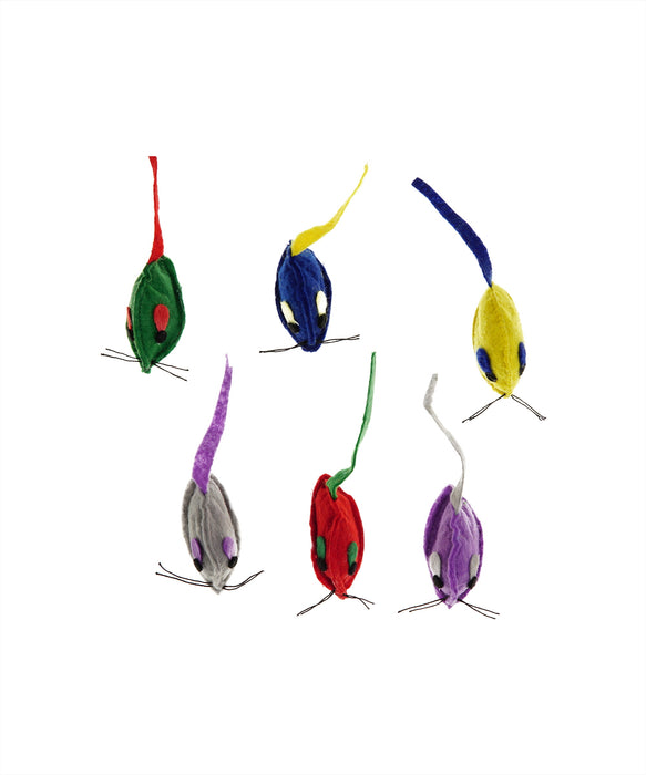 "multi color mice cat toy stuffed with catnip 2"" 6 per pack"
