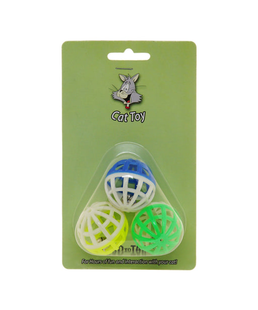 "Lattice bell ball cat toy 1.5"" 3 per pk."