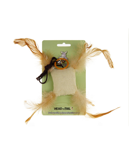 catnip bag with feathers toy for cats 2.5""
