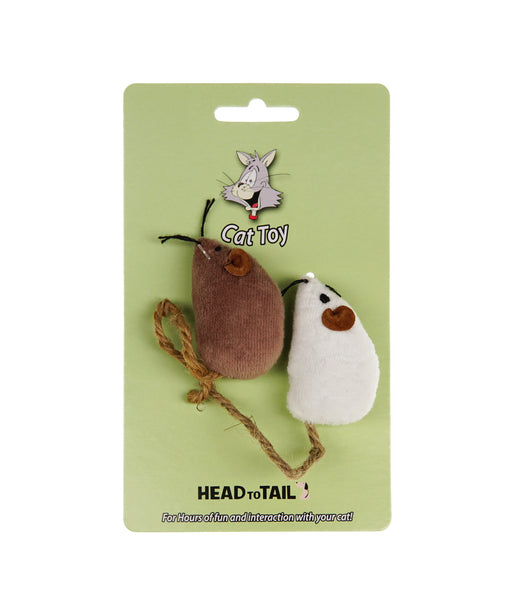 white and brown catnip mouse toy for cats 2""