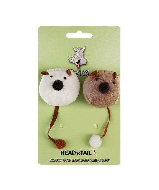 white and brown catnip ball mouse toy for cats 2""
