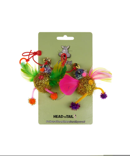 Tinsel Chick Cat Toy With Feathers & Bell 2'' 2pck.