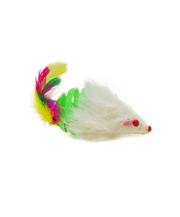 white mouse with feather tail cat toy 3""