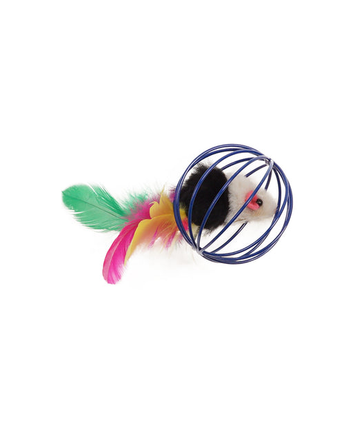 mouse with feather tail in wire ball cat toy