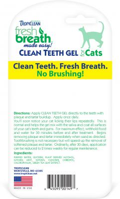 Back of tropiclean fresh breath clean teeth gel for cats and kittens, back shows directions, ingredients, and bar code