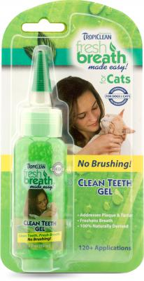 Tropiclean Fresh Breath Clean Teeth Gel 2fl. oz. For Cats and kittens, Addresses plaque & Tartar, freshens breath instantly, no brushing required cat teeth gel