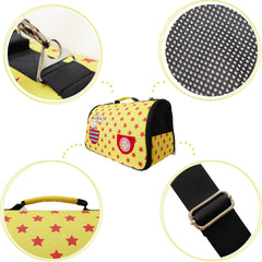 Paris Dog Yellow and Red Carrier for Small Dogs and Cats