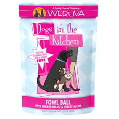 Weruva Dogs In the Kitchen Fowl Ball Wet Food Packet Made with Delicious Chicken Breast and Turkey AU JUS Net wt. 2.8oz