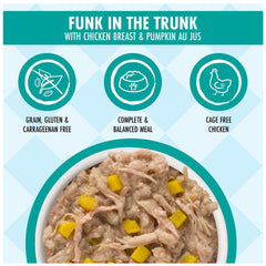 Weruva Dogs In the kitchen Wet Food Pouch for dogs Funk in the Trunk made with tasty chicken breast and pumpkin AU JUS Net wt 2.8 oz Complete and Balanced Meal Made with Cage free chicken and grain, gluten, Carrageenan Free