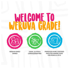 Welcome to weruva grade by a weruva family owned business, all packets are grain, gluten & carrageenan free. Produced in A brc certified facility making food for people and pets