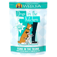 Weruva Dogs In the kitchen Wet Food Pouch for dogs Funk in the Trunk made with tasty chicken breast and pumpkin AU JUS Net wt 2.8 oz