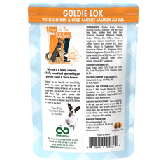 Weruva dogs in the kitchen wet food pouch Goldie Lox deliciously made with chicken and wild caught salmon AU JUS Net wt 2.8 oz Ingredients and Directions for use