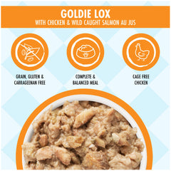Weruva dogs in the kitchen wet food pouch Goldie Lox deliciously made with chicken and wild caught salmon AU JUS Net wt 2.8 oz complete and Balanced Meal made with Cage free chicken and grain, gluten & carrageen free