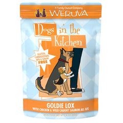 Weruva dogs in the kitchen wet food pouch Goldie Lox deliciously made with chicken and wild caught salmon AU JUS Net wt 2.8 oz