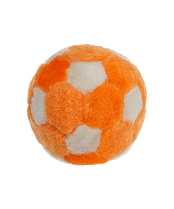 Orange and white plush soccer ball dog toy 5""