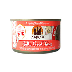 Weruva Jolly Good Fares  Can of Cat food Made with Tasty Chicken And beef dinner in a hydrating puree. grain gluten & carrageenan free