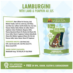 Weruva Dogs In the Kitchen Wet Food Pouch Lamburgini Deliciously made with lamb and pumpkin AU JUS Net wt 2.8 oz