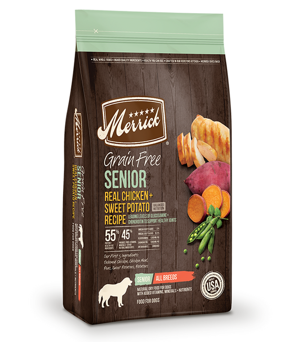 Merrick Grain Free Senior Real Chicken + Sweet Potato Recipe