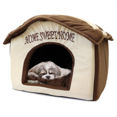 Soft Plush Brown/Caramel bed for dogs and Cats labeled Home Sweet Home Soft and comfortable