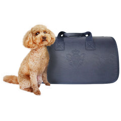 Beautiful Leather Case Carrier for Small Dogs and Cats with nylon stitched leather handles and strap Navy Blue Amy Loves Bags Poodle Model