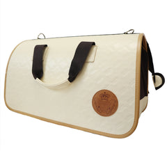 Beautiful Leather Case Carrier for Small Dogs and Cats with nylon stitched leather handles and strap Ivory and Burnt Umber Amy Loves Bags